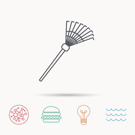 gardening  equipment: Rake icon. Gardening equipment sign. Outdoor instrument symbol. Global connect network, ocean wave and burger icons. Lightbulb lamp symbol. Illustration