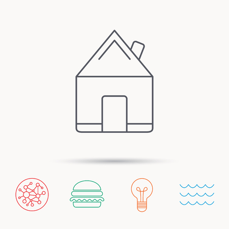 global village: Real estate icon. House building sign. Real-estate property symbol. Global connect network, ocean wave and burger icons. Lightbulb lamp symbol.
