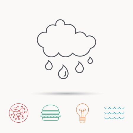 overcast: Rain icon. Water drops and cloud sign. Rainy overcast day symbol. Global connect network, ocean wave and burger icons. Lightbulb lamp symbol.