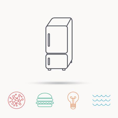 fridge lamp: Refrigerator icon. Fridge sign. Global connect network, ocean wave and burger icons. Lightbulb lamp symbol.