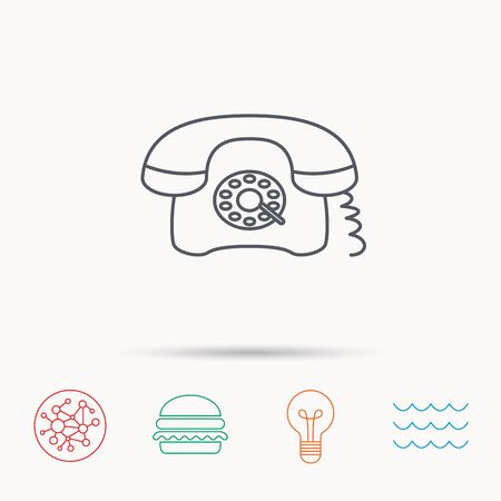 old phone: Retro phone icon. Old telephone sign. Global connect network, ocean wave and burger icons. Lightbulb lamp symbol.