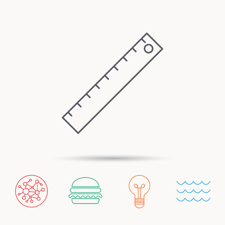straightedge: Ruler icon. Straightedge sign. Geometric symbol. Global connect network, ocean wave and burger icons. Lightbulb lamp symbol.