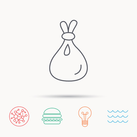 burlap sack: Burlap sack icon. Textile bag sign symbol. Global connect network, ocean wave and burger icons. Lightbulb lamp symbol.