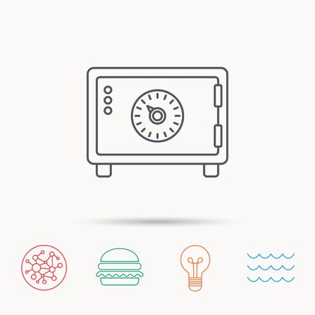 combination lock: Safe icon. Money deposit sign. Combination lock symbol. Global connect network, ocean wave and burger icons. Lightbulb lamp symbol.