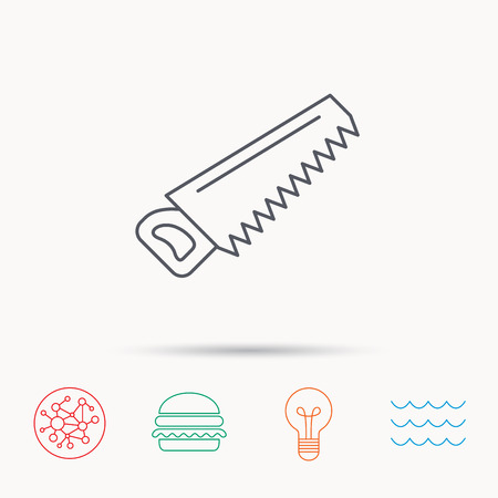 crosscut: Saw icon. Carpentry equipment sign. Hacksaw symbol. Global connect network, ocean wave and burger icons. Lightbulb lamp symbol. Illustration