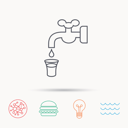 waterworks: Save water icon. Crane or Faucet with drop sign. Global connect network, ocean wave and burger icons. Lightbulb lamp symbol.