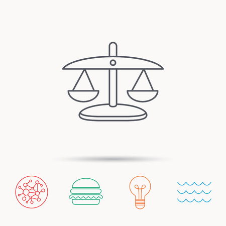 wave equality: Scales of Justice icon. Law and judge sign. Measurement tool symbol. Global connect network, ocean wave and burger icons. Lightbulb lamp symbol.