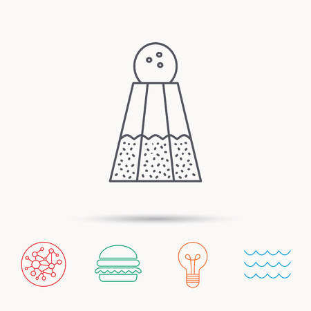sodio: Salt icon. Sodium spice sign. Cooking ingredient symbol. Global connect network, ocean wave and burger icons. Lightbulb lamp symbol. Vectores
