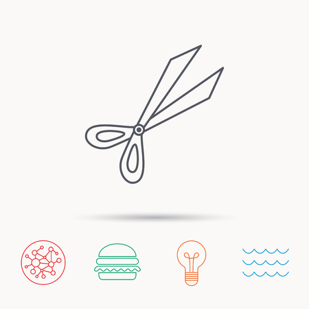 secateurs: Gardening scissors icon. Secateurs tool sign symbol. Global connect network, ocean wave and burger icons. Lightbulb lamp symbol.
