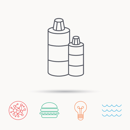 shampoo bottles: Shampoo bottles icon. Liquid soap sign. Global connect network, ocean wave and burger icons. Lightbulb lamp symbol.