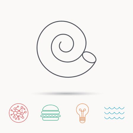 mollusk: Sea shell icon. Spiral seashell sign. Mollusk shell symbol. Global connect network, ocean wave and burger icons. Lightbulb lamp symbol.
