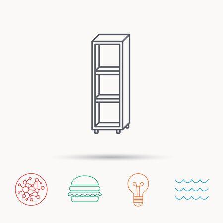 shelving: Empty shelves icon. Shelving sign. Global connect network, ocean wave and burger icons. Lightbulb lamp symbol. Illustration