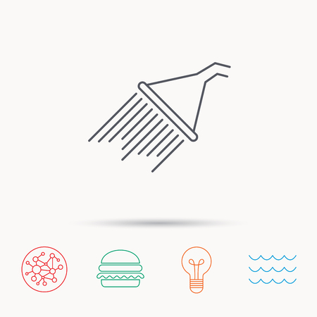 washstand: Shower icon. Washing equipment sign. Global connect network, ocean wave and burger icons. Lightbulb lamp symbol.