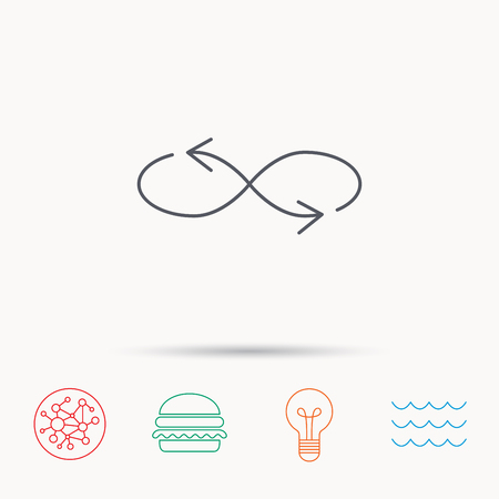 arrowhead: Shuffle icon. Mixed arrows sign. Randomize symbol. Global connect network, ocean wave and burger icons. Lightbulb lamp symbol. Illustration
