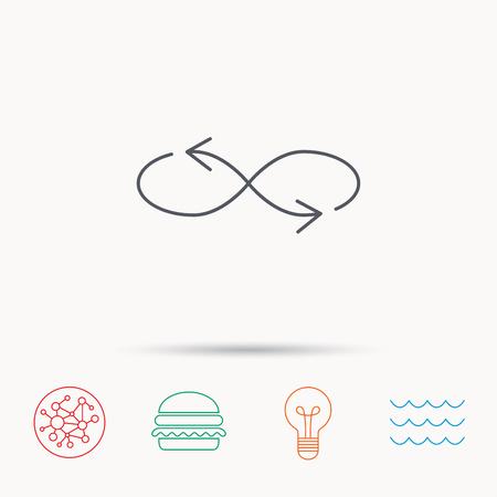 混合: Shuffle icon. Mixed arrows sign. Randomize symbol. Global connect network, ocean wave and burger icons. Lightbulb lamp symbol.  イラスト・ベクター素材