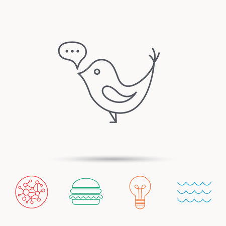 short wave: Bird with speech bubble icon. Chat talk sign. Social media concept symbol. Global connect network, ocean wave and burger icons. Lightbulb lamp symbol. Illustration