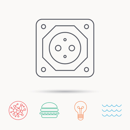 adapter: European socket icon. Electricity power adapter sign. Global connect network, ocean wave and burger icons. Lightbulb lamp symbol.