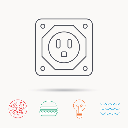 adapter: USA socket icon. Electricity power adapter sign. Global connect network, ocean wave and burger icons. Lightbulb lamp symbol.
