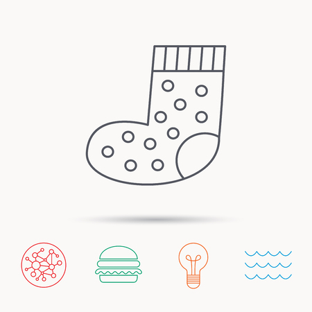 baby underwear: Sock icon. Baby underwear sign. Clothes symbol. Global connect network, ocean wave and burger icons. Lightbulb lamp symbol.