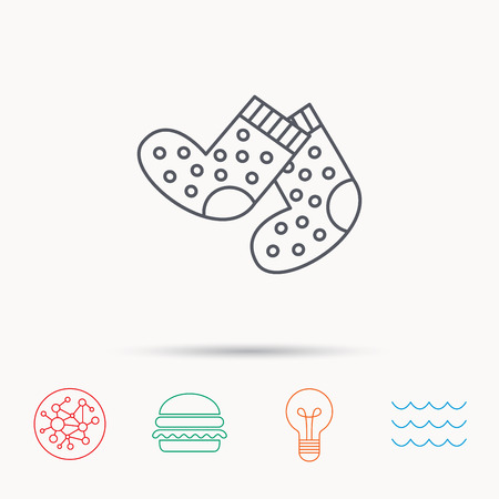 baby underwear: Socks icon. Baby underwear sign. Clothes symbol. Global connect network, ocean wave and burger icons. Lightbulb lamp symbol. Illustration