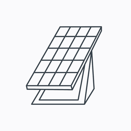 collector: Solar collector icon. Sunlight energy generation sign. Innovation battery power symbol. Linear outline icon on white background.
