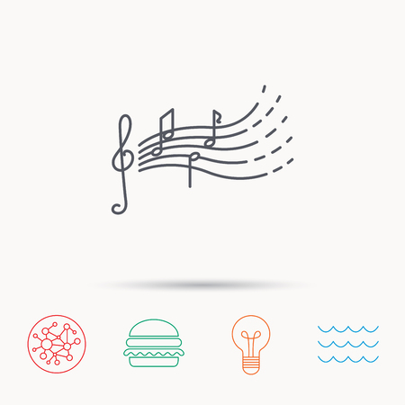 gclef: Songs for kids icon. Musical notes, melody sign. G-clef symbol. Global connect network, ocean wave and burger icons. Lightbulb lamp symbol.
