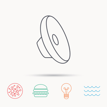 louder: Sound icon. Audio speaker sign. Music symbol. Global connect network, ocean wave and burger icons. Lightbulb lamp symbol. Illustration