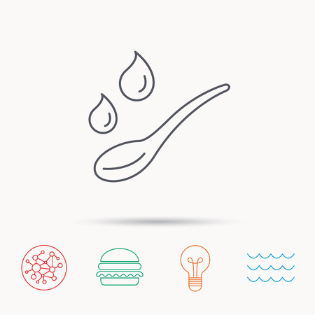 dose: Spoon with water drops icon. Baby medicine dose sign. Child food symbol. Global connect network, ocean wave and burger icons. Lightbulb lamp symbol.