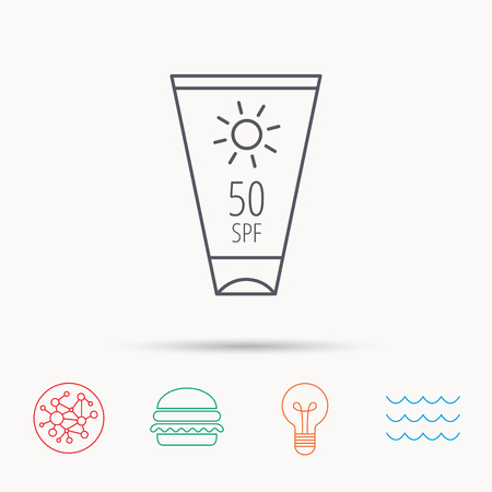 sun cream: Sun cream container icon. Beach lotion sign. Global connect network, ocean wave and burger icons. Lightbulb lamp symbol.