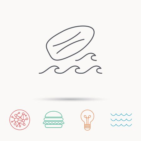 surfing waves: Surfboard icon. Surfing waves sign. Global connect network, ocean wave and burger icons. Lightbulb lamp symbol.