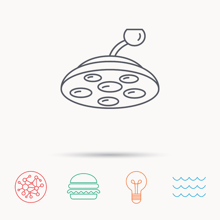 surgical light: Surgical lamp icon. Surgeon light sign. Global connect network, ocean wave and burger icons. Lightbulb lamp symbol. Illustration