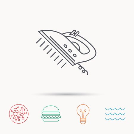 steam iron: Steam ironing icon. Iron housework tool sign. Global connect network, ocean wave and burger icons. Lightbulb lamp symbol. Illustration