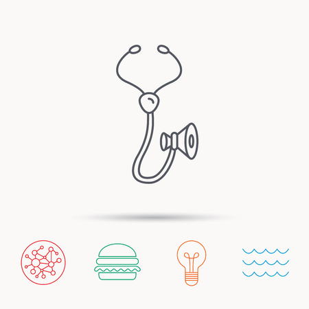 pulmology: Stethoscope icon. Medical doctor equipment sign. Pulmology symbol. Global connect network, ocean wave and burger icons. Lightbulb lamp symbol. Illustration