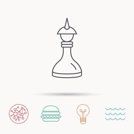 mind game: Strategy icon. Chess queen or king sign. Mind game symbol. Global connect network, ocean wave and burger icons. Lightbulb lamp symbol. Illustration