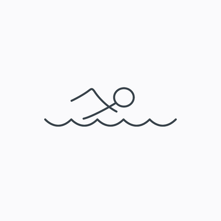 professional sport: Swimming icon. Swimmer in waves sign. Professional sport symbol. Linear outline icon on white background. Illustration