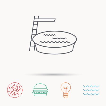 jumping into water: Swimming pool icon. Jumping into water sign. Global connect network, ocean wave and burger icons. Lightbulb lamp symbol.