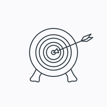 bowman: Target with arrow icon. Archery aiming sign. Professional shooter sport symbol. Linear outline icon on white background. Illustration