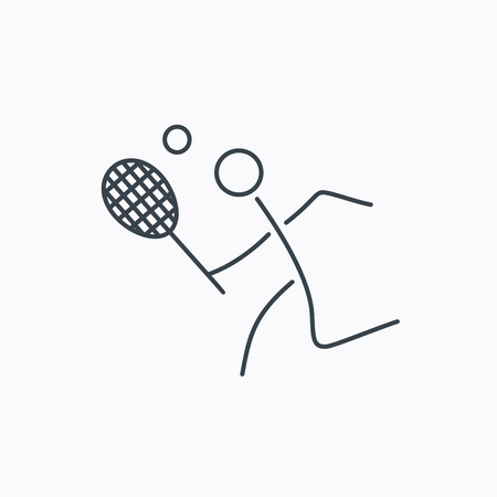 professional sport: Tennis icon. Racket with ball sign. Professional sport symbol. Linear outline icon on white background. Illustration