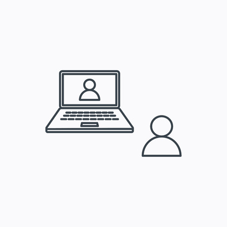 web conference: Video chat icon. Webcam chatting sign. Web conference symbol. Linear outline icon on white background. Illustration