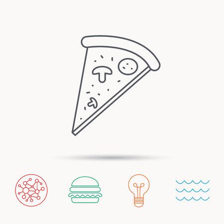 bake: Pizza icon. Piece of Italian bake sign. Global connect network, ocean wave and burger icons. Lightbulb lamp symbol.