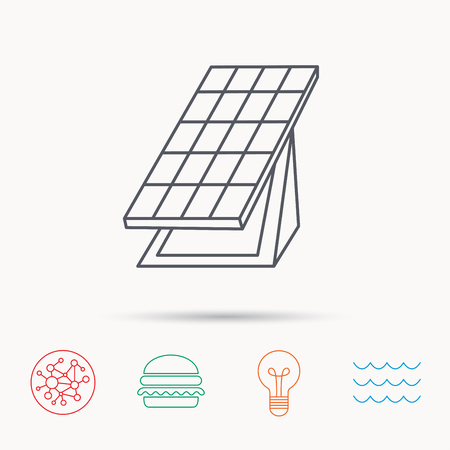 collector: Solar collector icon. Sunlight energy generation sign. Innovation battery power symbol. Global connect network, ocean wave and burger icons. Lightbulb lamp symbol.