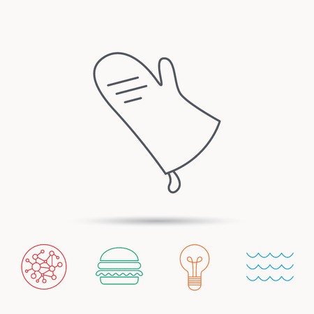fireproof: Potholder icon. Kitchen protection glove sign. Global connect network, ocean wave and burger icons. Lightbulb lamp symbol.