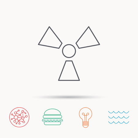 Radiation icon. Radiology sign. Global connect network, ocean wave and burger icons. Lightbulb lamp symbol. Illustration