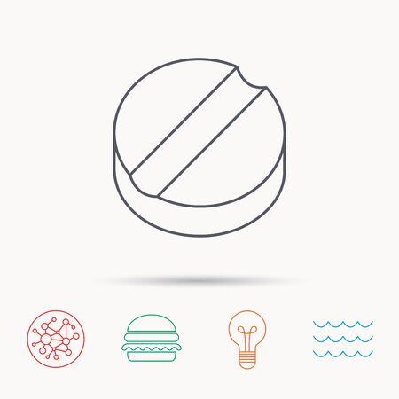 cure: Tablet icon. Medicine drug sign. Pharmaceutical cure symbol. Global connect network, ocean wave and burger icons. Lightbulb lamp symbol. Illustration