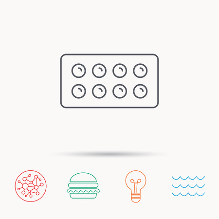 painkiller: Tablets icon. Medical pills sign. Painkiller drugs symbol. Global connect network, ocean wave and burger icons. Lightbulb lamp symbol.