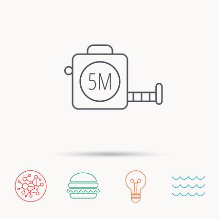 centimetre: Tape measurement icon. Roll ruler sign. Global connect network, ocean wave and burger icons. Lightbulb lamp symbol.