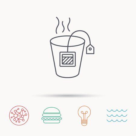 tea lamp: Tea bag icon. Natural hot drink sign. Breakfast beverage symbol. Global connect network, ocean wave and burger icons. Lightbulb lamp symbol.
