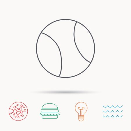 team game: Tennis equipment icon. Sport ball sign. Team game symbol. Global connect network, ocean wave and burger icons. Lightbulb lamp symbol. Illustration