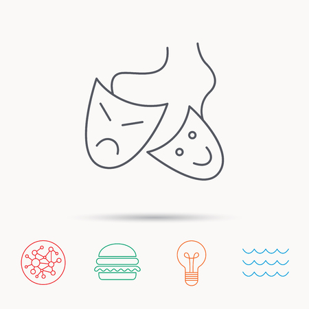 masquerade masks: Theater masks icon. Drama and comedy sign. Masquerade or carnival symbol. Global connect network, ocean wave and burger icons. Lightbulb lamp symbol.
