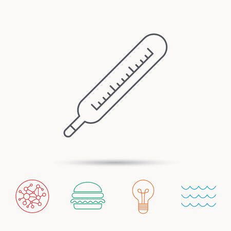 diagnostic: Medical thermometer icon. Temperature measurement sign. Health diagnostic symbol. Global connect network, ocean wave and burger icons. Lightbulb lamp symbol. Illustration
